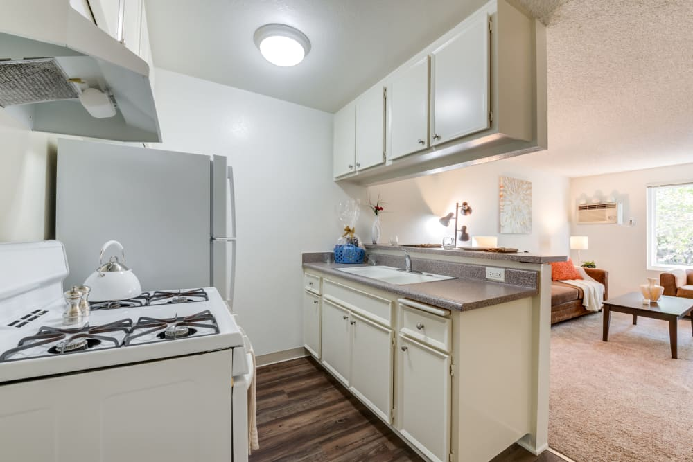 Kitchen with appliances at Vista Pointe II in Studio City, CA