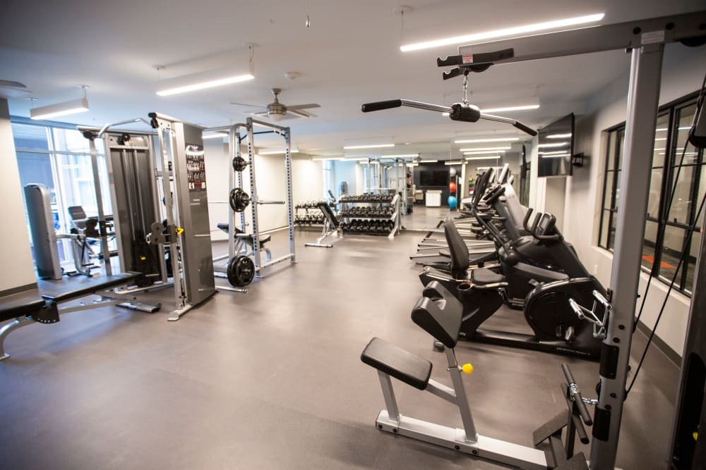 Workout room at The Boulevard in Detroit, Michigan
