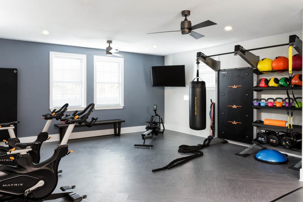 Yoga Studio with free weights and Fitness on Demand