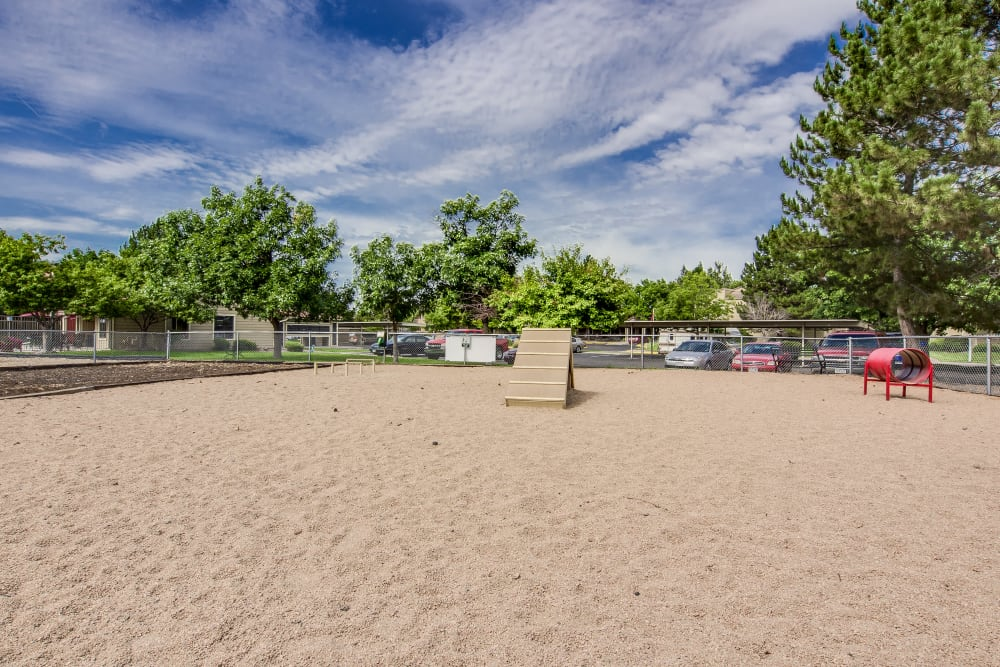 Onsite bark park with agility course at Santana Ridge in Denver, Colorado