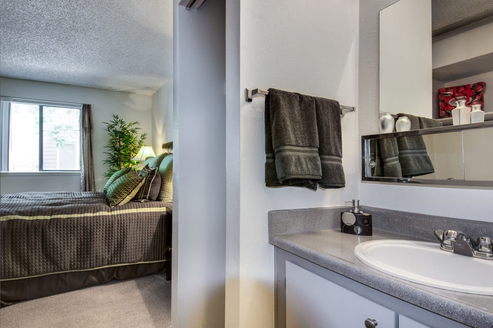 Partial view of the master bedroom from the en suite bathroom in a model home at Santana Ridge in Denver, Colorado