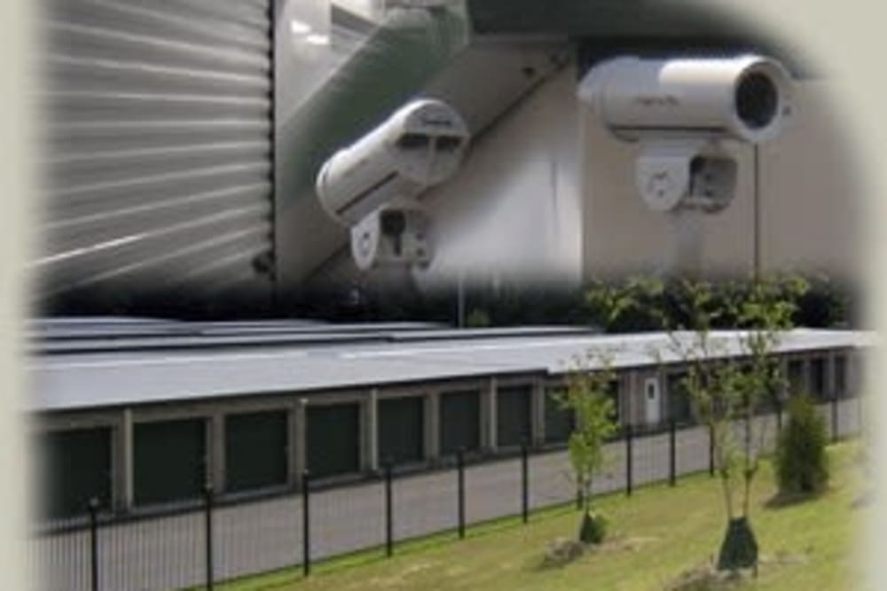 Triple picture of the exterior units and security equipment at Cliffdale Safe Storage in Fayetteville, North Carolina