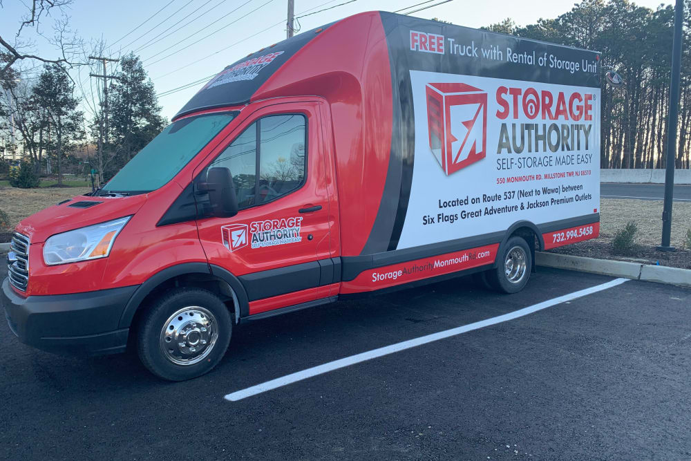 Storage van at Storage Authority Monmouth Rd in Millstone Township, New Jersey.
