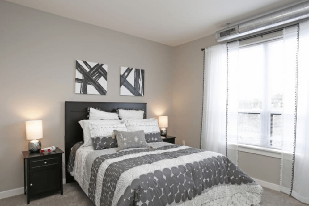 Cozy bedroom at Park West 205 Apartment Homes in Pittsburgh, Pennsylvania