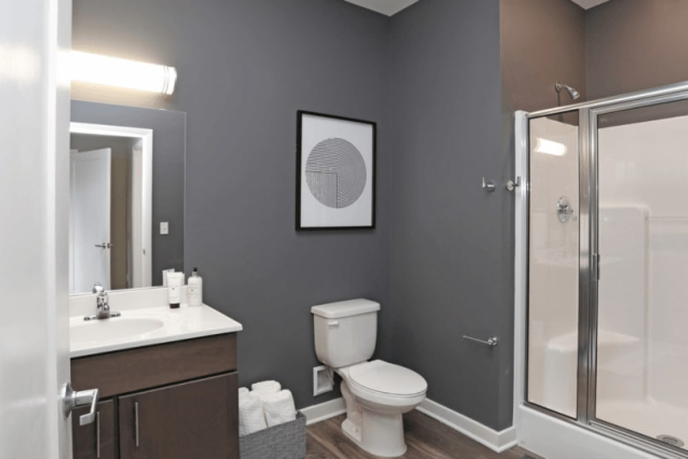 Bright, spacious bathroom at Park West 205 Apartment Homes in Pittsburgh, Pennsylvania