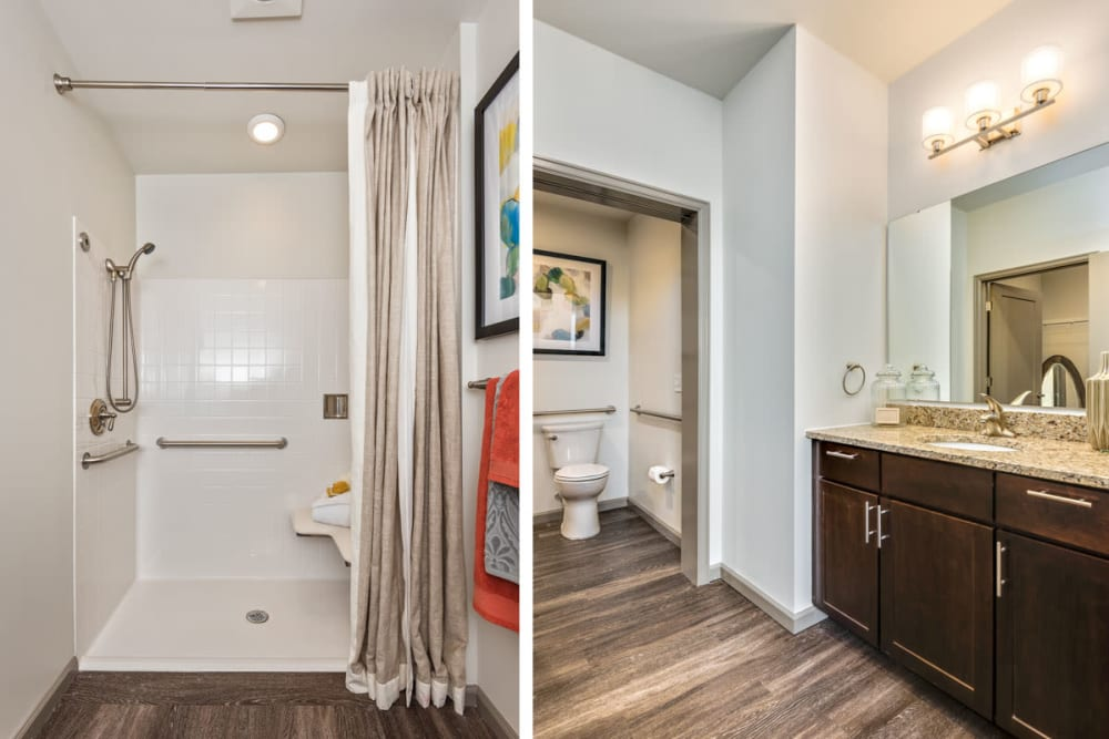 Large resident bathroom at Anthology of Clayton View in Saint Louis, Missouri