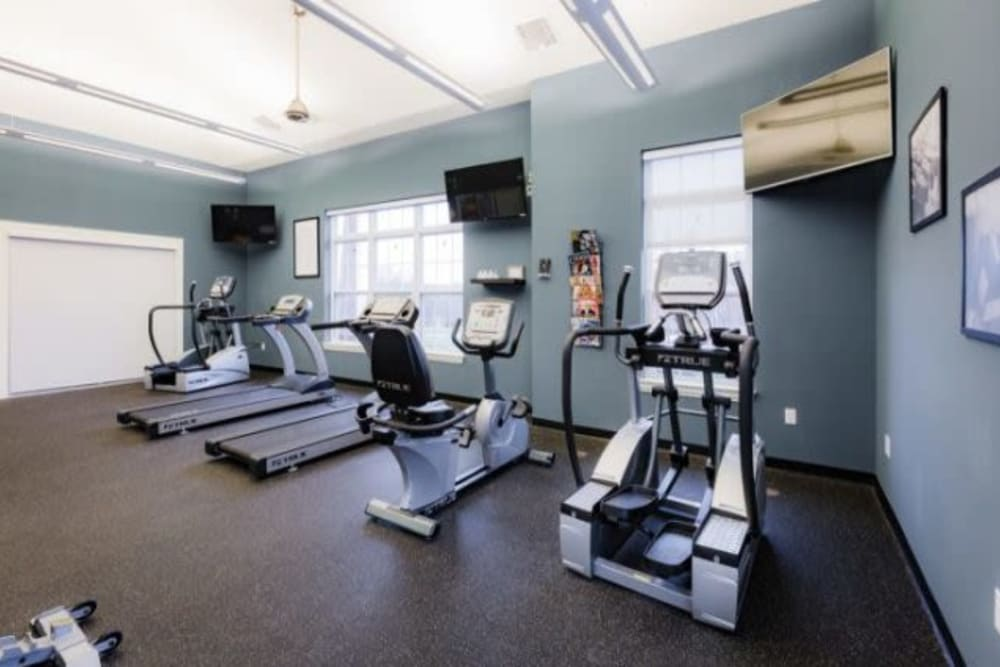 Modern fitness center at Torrente Apartment Homes in Upper St Clair, Pennsylvania