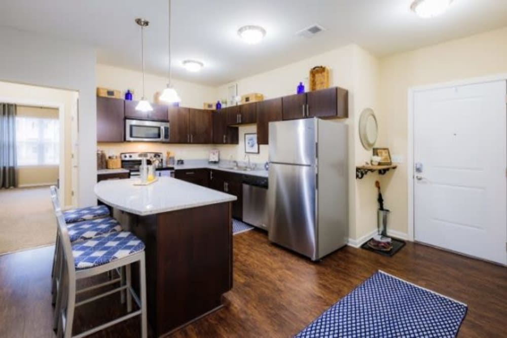 Kitchen with stainless steel appliance at Torrente Apartment Homes in Upper St Clair, Pennsylvania