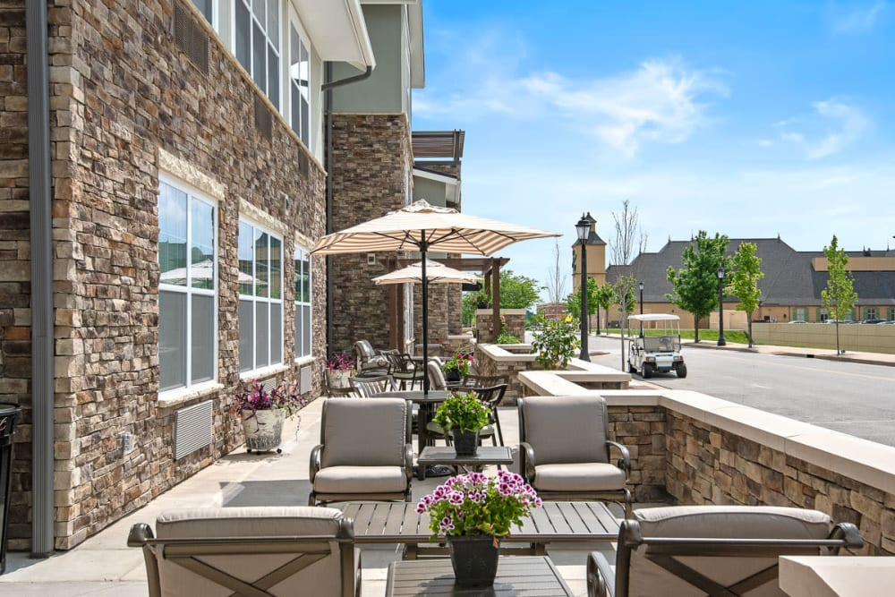 Outdoor patio at Anthology of Wildwood in Wildwood, Missouri