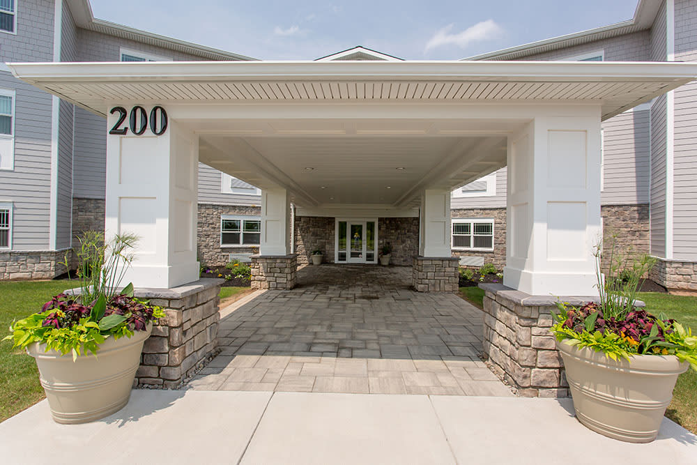Main entrance view at Villa Capri Senior Apartments in Rochester, New York