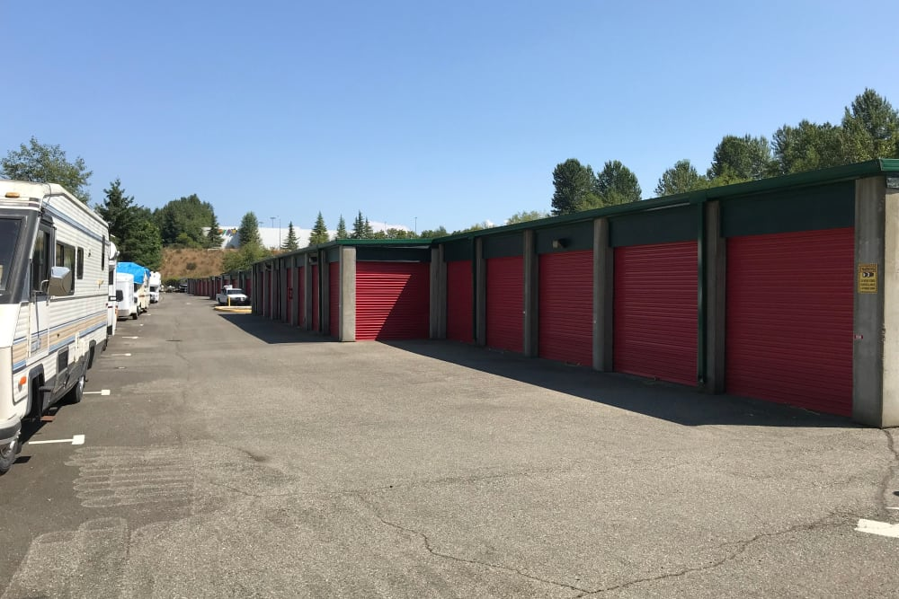 Storage units and RV parking at Trojan Storage in Puyallup, Washington