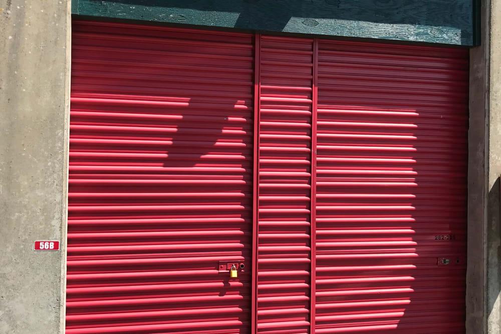 Lock on a storage unit door at Trojan Storage in Puyallup, Washington