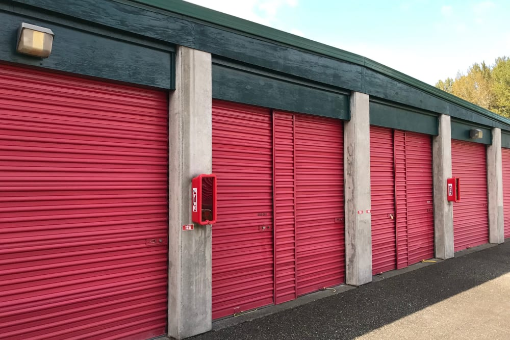 Exterior storage units at Trojan Storage in Puyallup, Washington