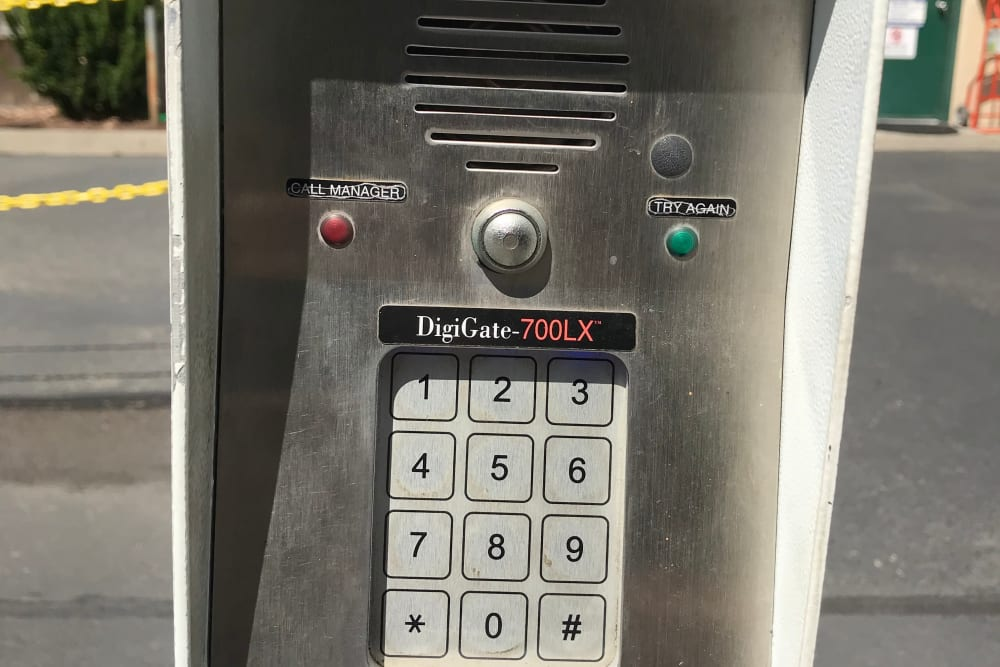 Secure keypad entry at Trojan Storage in Puyallup, Washington