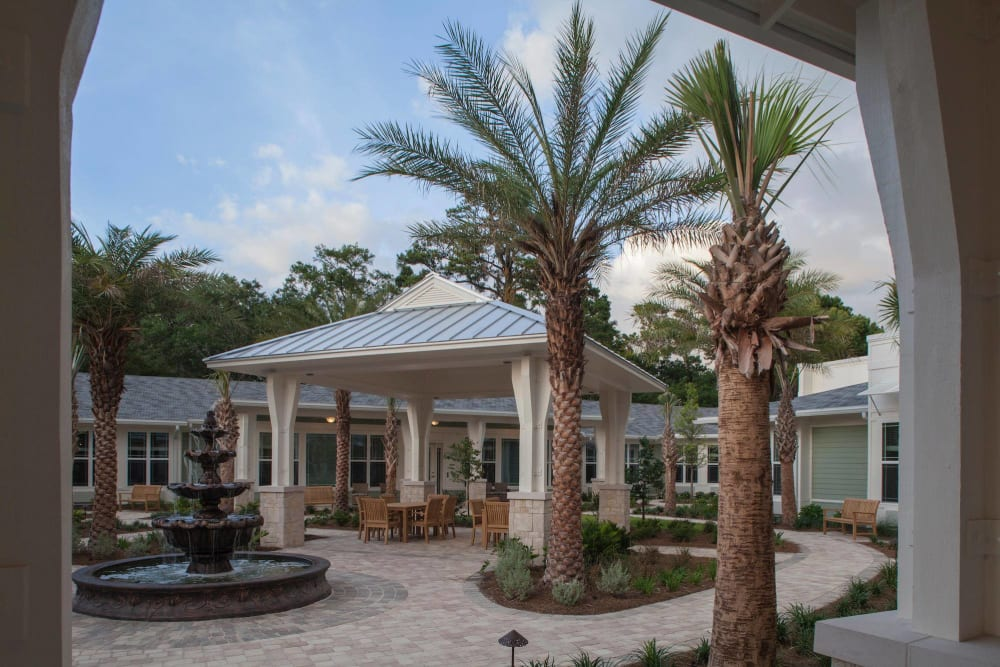 Beautiful and clean outdoor areas at Ponte Vedra Gardens Alzheimer's Special Care Center in Ponte Vedra Beach, Florida
