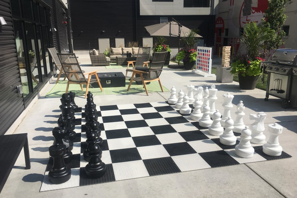Oversized chess at Duveneck Square in Covington, Kentucky