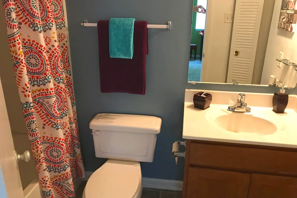 Bathroom with an oval tub at Patriots Crossing in Newport News, Virginia
