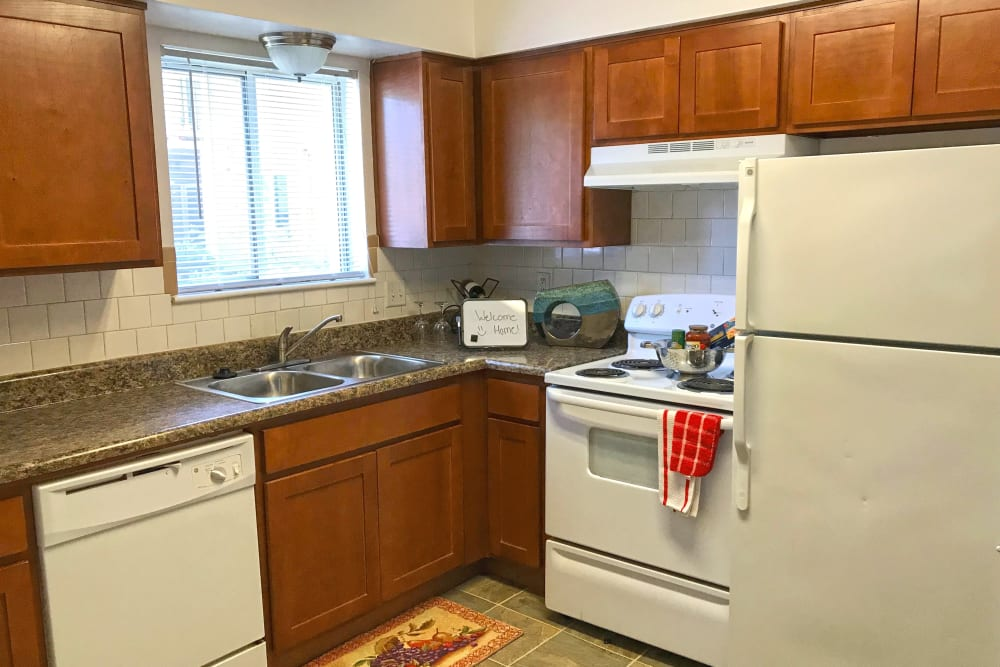Spacious, open kitchen at Patriots Crossing in Newport News, Virginia