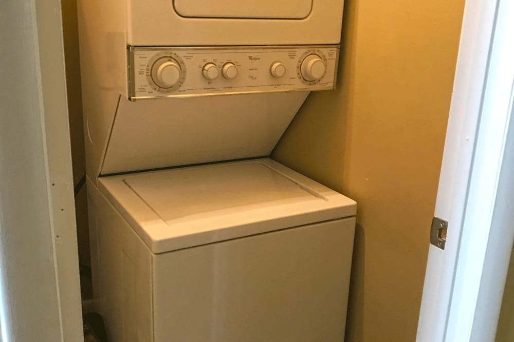 Stacked washer and dryer at Patriots Crossing in Newport News, Virginia