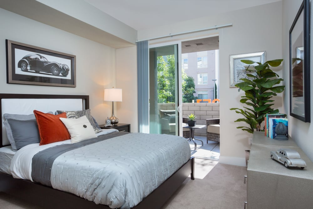 Bedroom with patio access at Sofi Riverview Park in San Jose, California