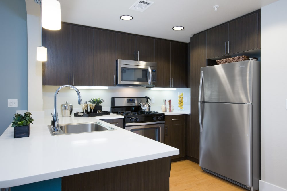 Kitchen with stainless-steel appliances at Sofi Riverview Park in San Jose, California