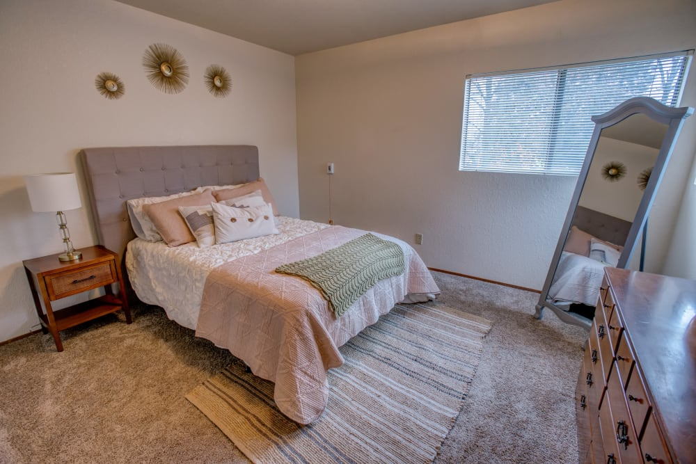 Model bedroom at Golden Pond Retirement Community