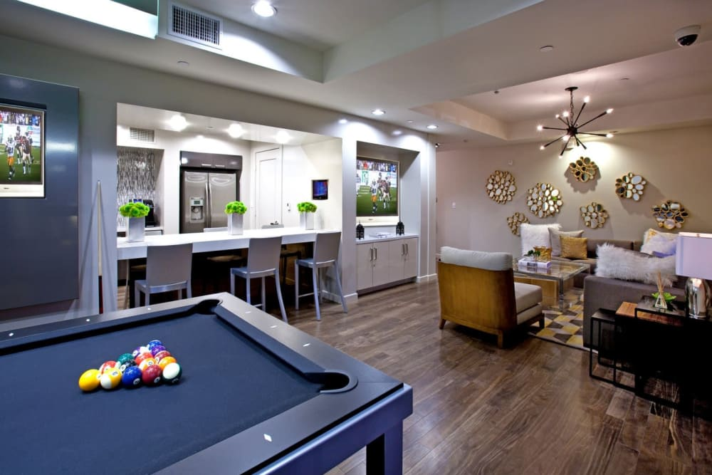 Billiards table and more in the game room at Sofi Warner Center in Woodland Hills, California