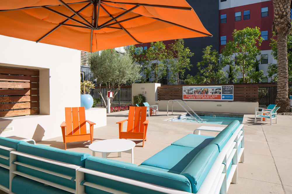 Lounge area near the pool at Sofi Warner Center in Woodland Hills, California