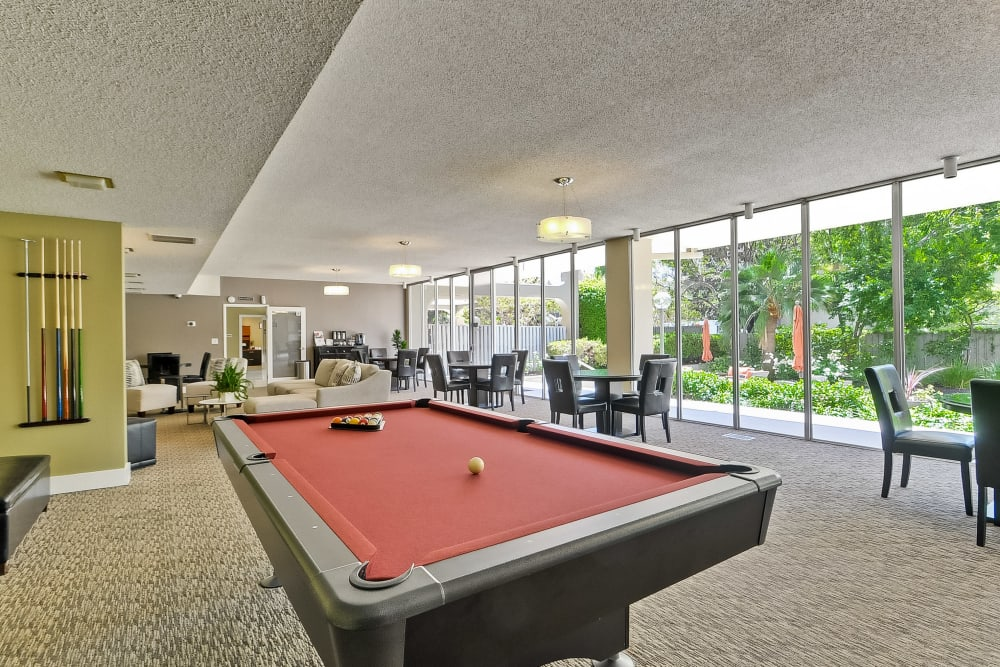 The clubhouse pool table at The Marc, Palo Alto in Palo Alto, California