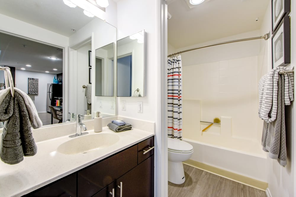 Large vanity mirror and a quartz countertop in a model home's bathroom at Sofi at 3rd in Long Beach, California