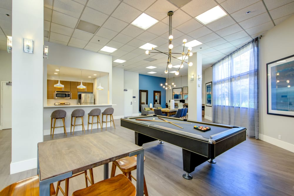 Billiards table in the resident clubhouse at Sofi at 3rd in Long Beach, California