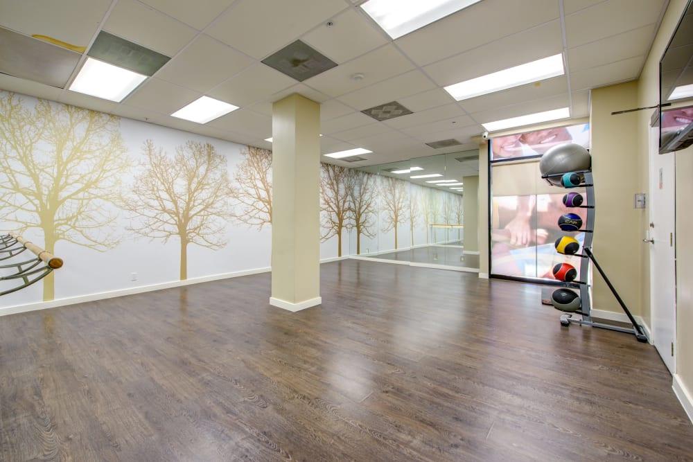 Yoga room at Sofi at 3rd in Long Beach, California