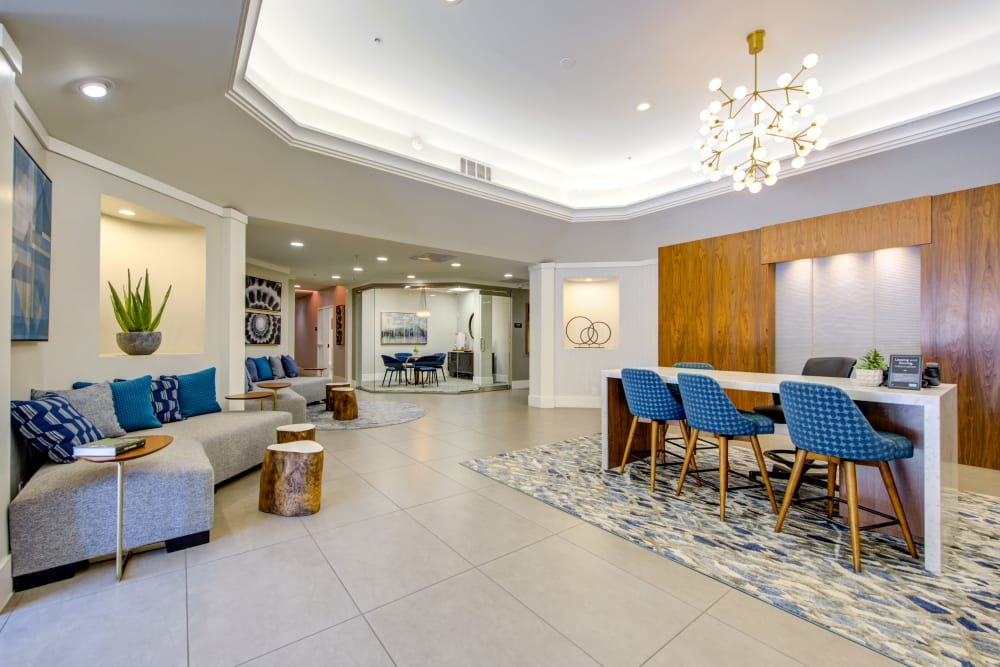 Luxuriously decorated lobby interior at Sofi at 3rd in Long Beach, California