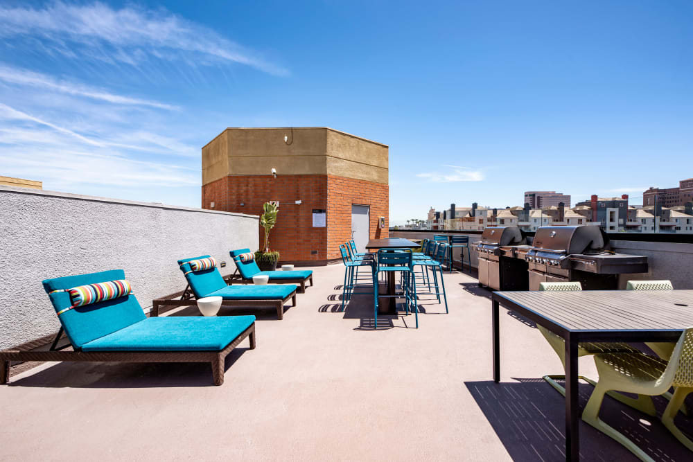 Rooftop lounge area with beautiful views of the city at Sofi at 3rd in Long Beach, California
