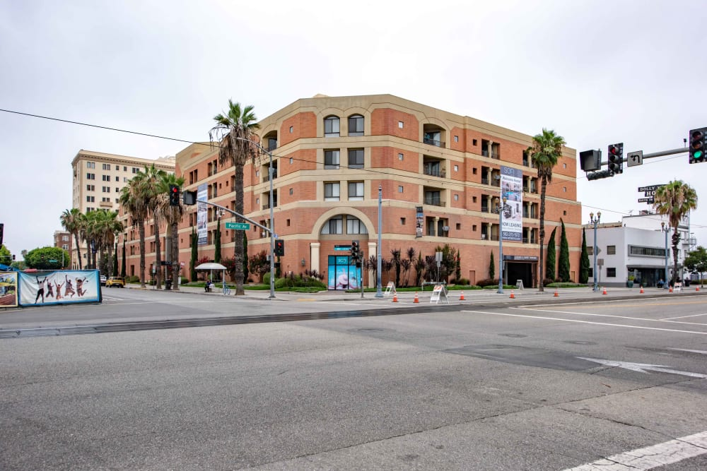 Exterior view of our community from across the street at Sofi at 3rd in Long Beach, California