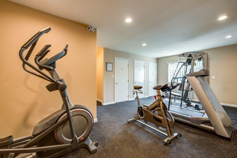 Fitness room at The Diplomat in Studio City, CA