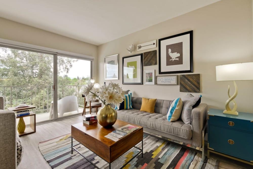 Comfortably decorated model studio apartment at Mia in Palo Alto, California