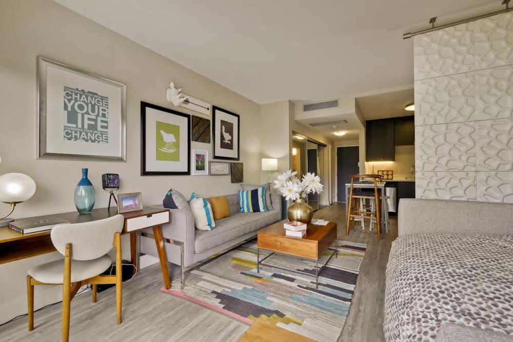Modern decor in the living area of a model studio home at Mia in Palo Alto, California