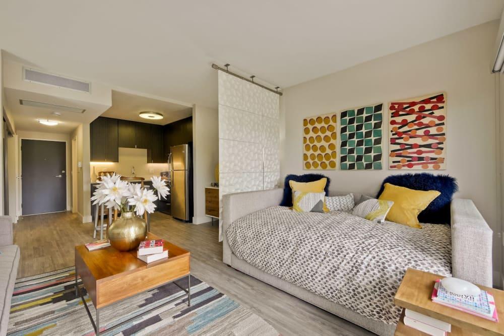 Well-decorated model studio apartment at Mia in Palo Alto, California