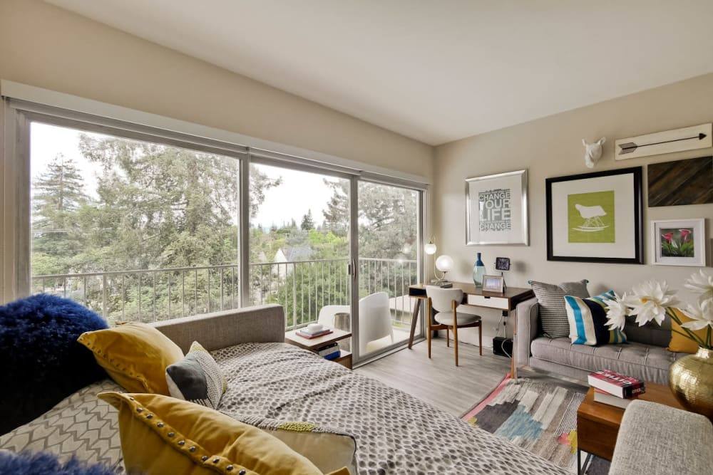 Floor to ceiling windows and hardwood floors in a model studio apartment at Mia in Palo Alto, California