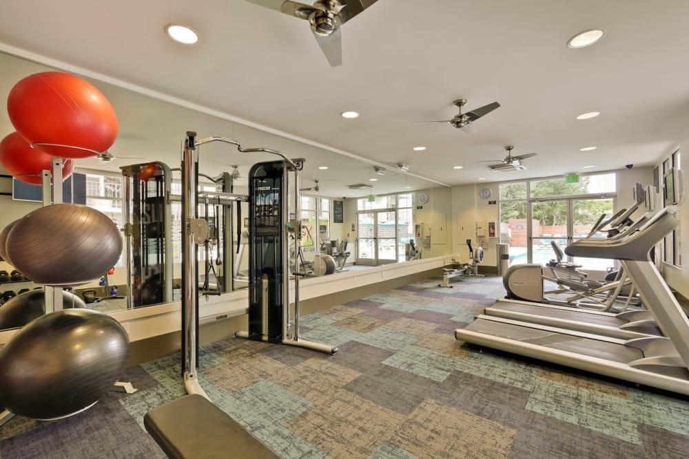 Treadmills in the fitness center at Mia in Palo Alto, California