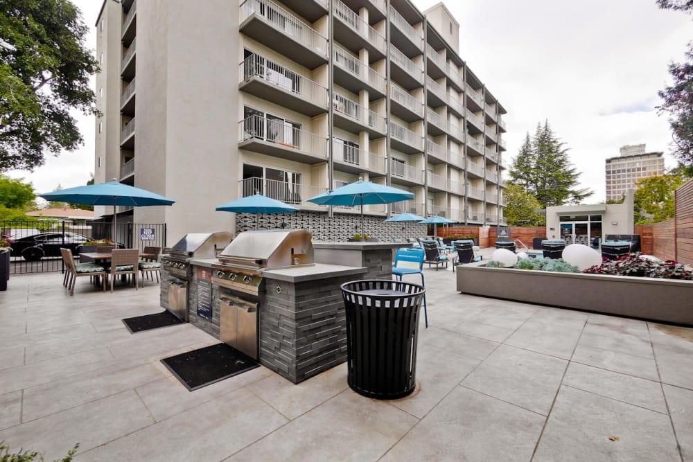 Barbecue area near the pool at Mia in Palo Alto, California