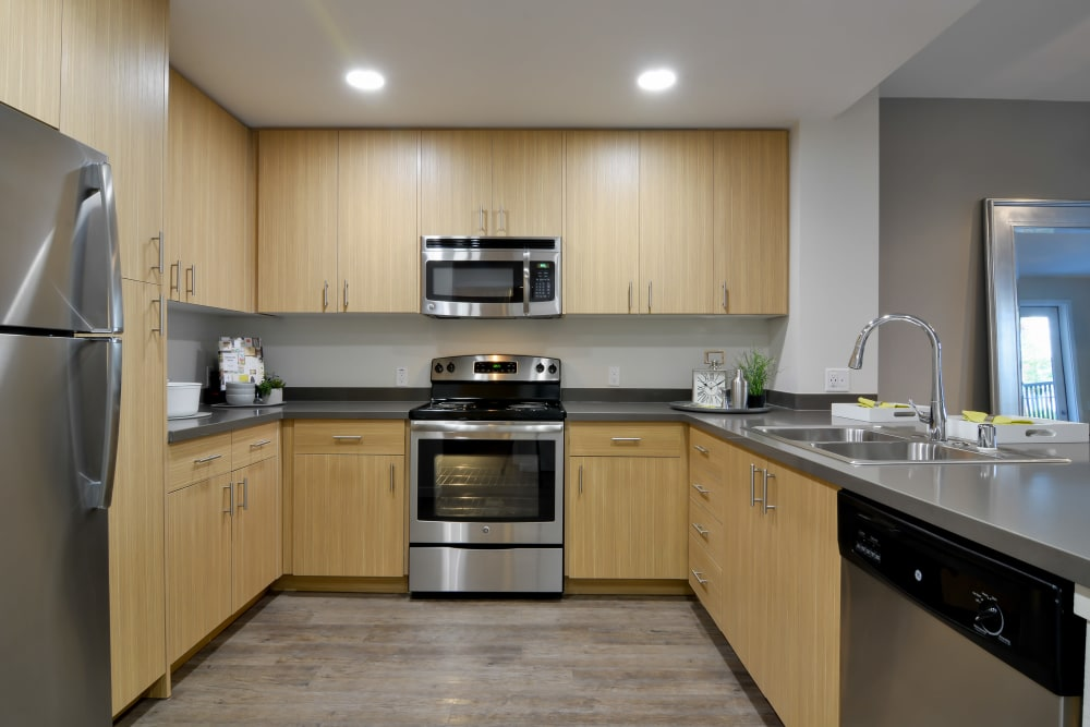 Large kitchen with stainless-steel appliances at Domus on the Boulevard in Mountain View, California