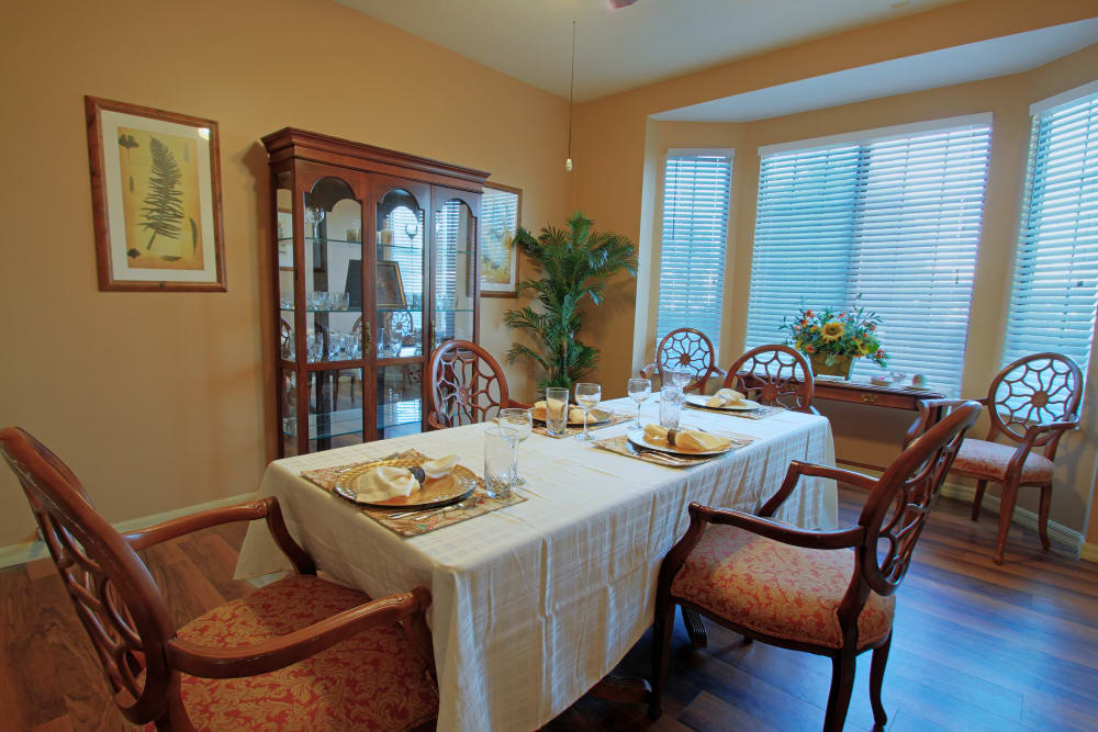 Restaurant-style dining at Bayside Terrace in Pinellas Park, Florida