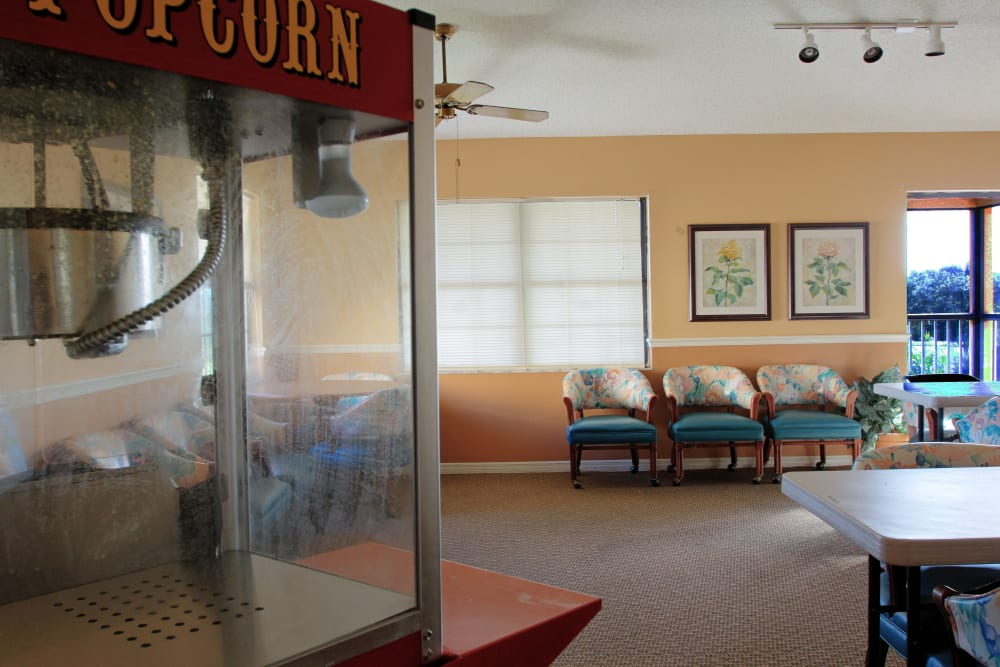 A popcorn machine at Bayside Terrace in Pinellas Park, Florida