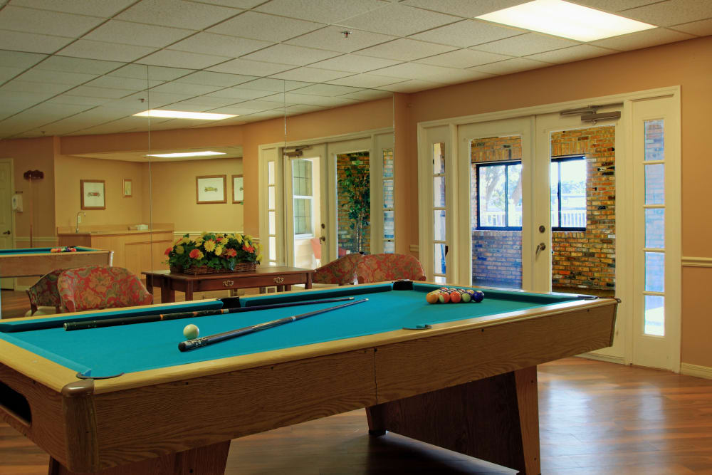 Billiards table at Bayside Terrace in Pinellas Park, Florida