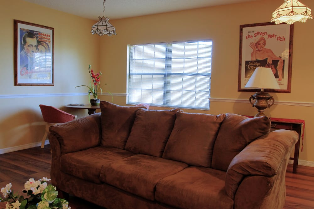 A comfortable couch in a living room at Bayside Terrace in Pinellas Park, Florida