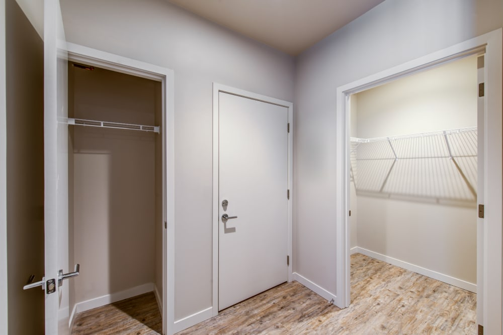Large closet and extra storage in a model home at Verse Seattle in Seattle, Washington