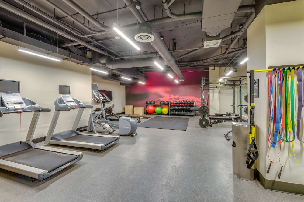 Very well-equipped onsite fitness center at Verse Seattle in Seattle, Washington