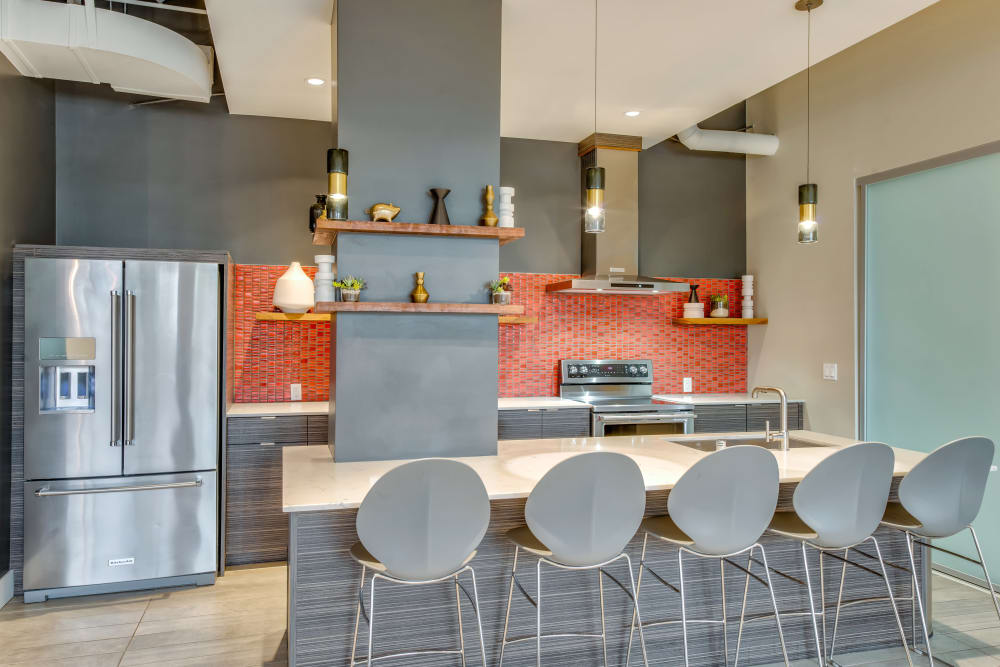 Demonstration kitchen in the clubhouse at Verse Seattle in Seattle, Washington